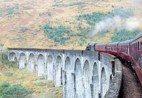 Jacobite steam train on Glenfinnan viaduct