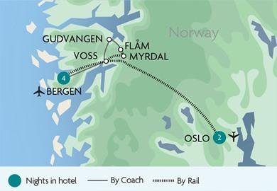 The Flam Railway Fl¥m to Myrdal in Norway