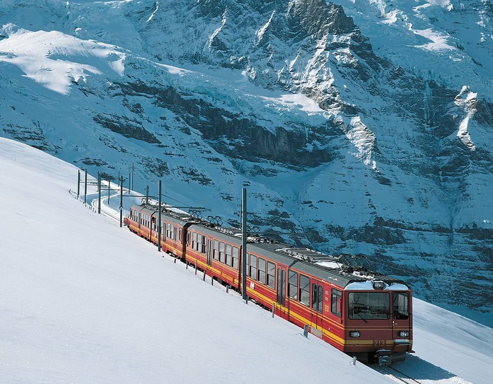 Jungfrau Express in the snowy mountains