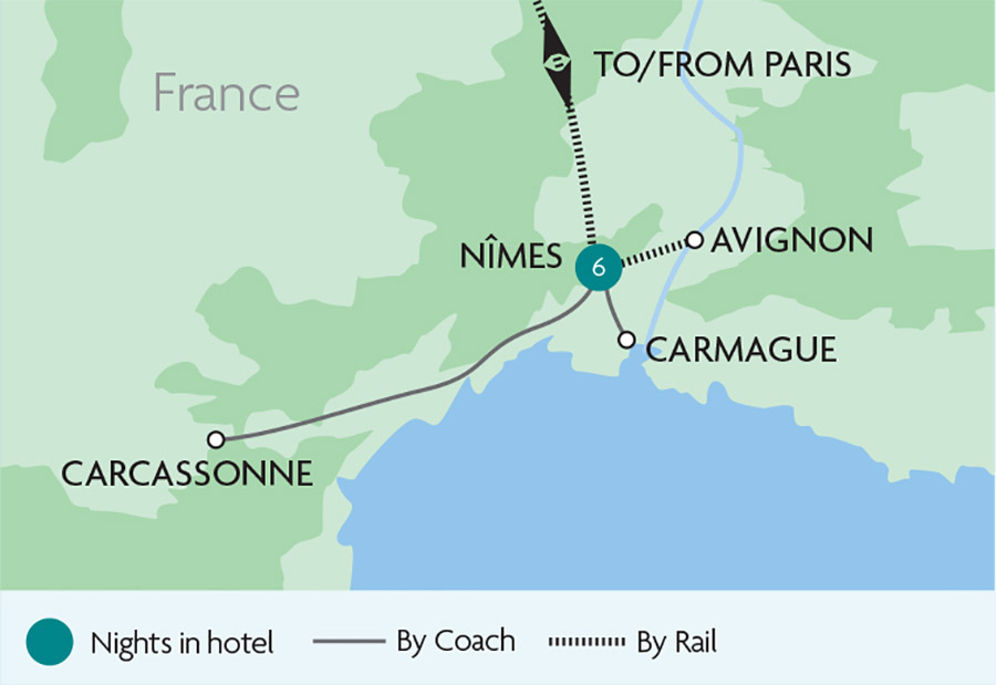 Map Of France Carcassonne.Nimes Carcassonne Provence Rail Tours Rail Discoveries