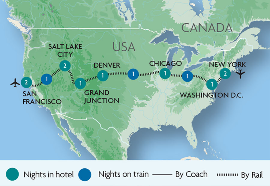 Escorted Train Tours & Holidays to USA