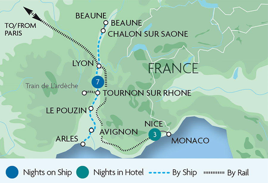 Map Of France French Riviera.French Riviera Rhone Cruise Rail Discoveries