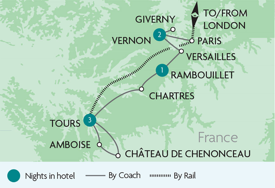 Map Of France Giverny.Versailles The Loire Valley Rail Tours Rail Discoveries